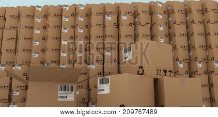 Arranged cardboard boxes against blue wall by hardwood floor