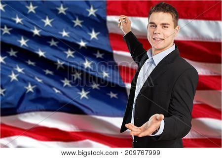 Business man flag suit businessman man face color