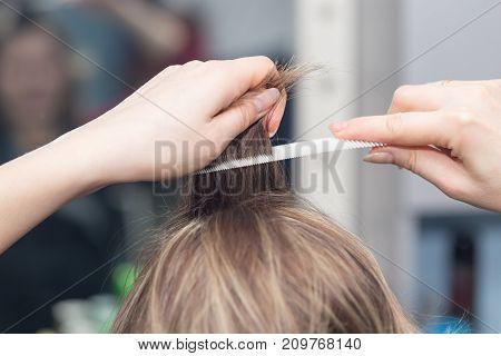 bouffant hair in a beauty salon . photo in the studio
