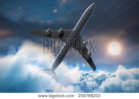Composite 3d image of airplane against blue and orange sky with clouds