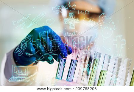 Working lab laboratory scientist glass transparent equipment