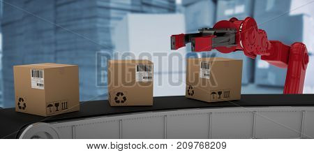 Cardboard boxes on 3D production line against red car
