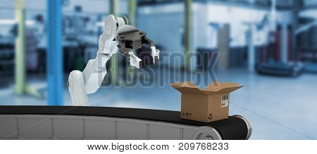 Digital 3D image of production line with open cardboard box against interior of garage