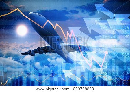 3D graphic airplane against stocks and shares