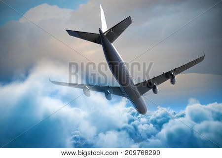 Composite 3d image of graphic airplane against cloudy sky during sunset