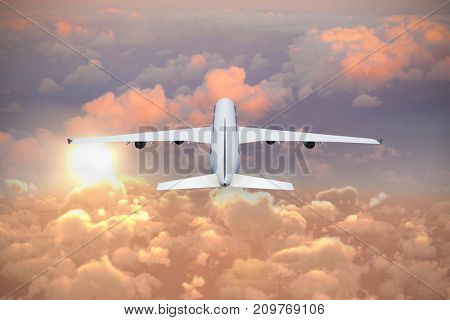 Composite 3d image of graphic airplane against full frame image of cloudy sky