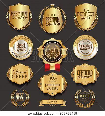 Retro Vintage Golden Badges Collection Vector Illustration 2.eps