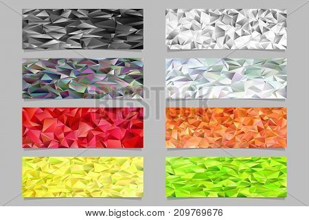 Low poly gradient irregular triangle tile mosaic banner template background set - trendy vector design elements from colored triangles