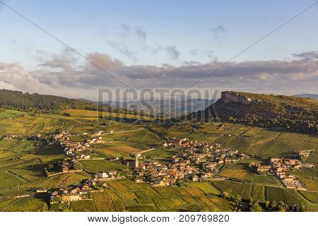 View of Vergisson village and rock in France