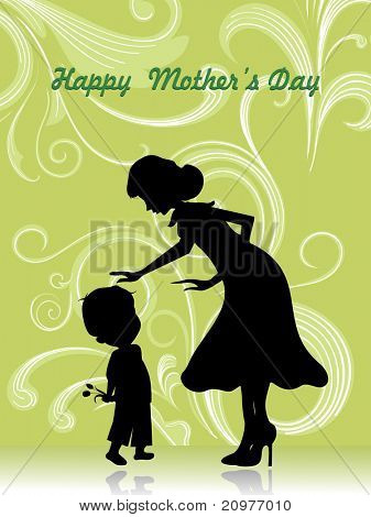 abstract green creative floral pattern background with mom and kid silhouette