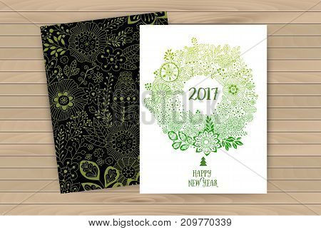 Vector doodle flowers colorful circular New Year wreath with flowers and central white copyspace for your text. Vector handdrawn sketch of wreath with flowers. Pattern under mask