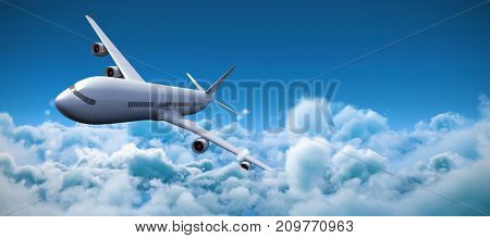3D graphic airplane against idyllic view of white cloudscape against sky