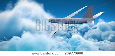 3D graphic airplane against tranquil scene of overcast against sky