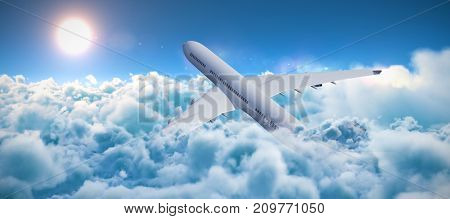 3D graphic airplane against scenic view of bright sun over white cloudscape
