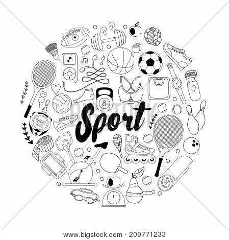 Vector handdrawn  illustration set of fitness and sport elements in doodle style. Healthy lifestyle background made of sport icons