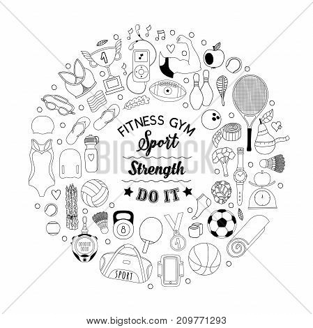 Vector handdrawn  frame, wreath made of fitness and sport elements in doodle style. Healthy lifestyle background made of sport icons