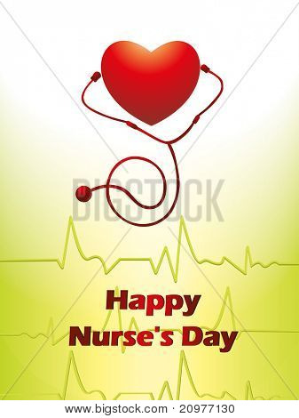 abstract heartbeat background with red heart and stethoscope