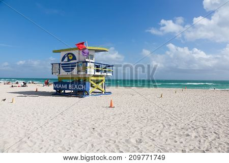 MIAMI, FLORIDA - JANUARY 30, 2017: Safeguard house at the Miami South Beach