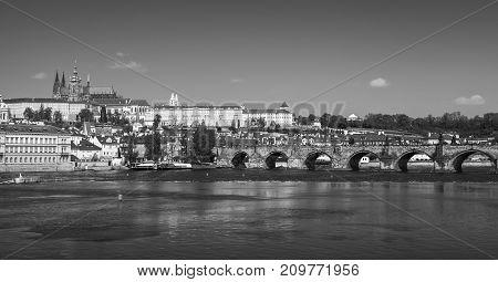 Panoramic View Of Old Prague, Monochrome
