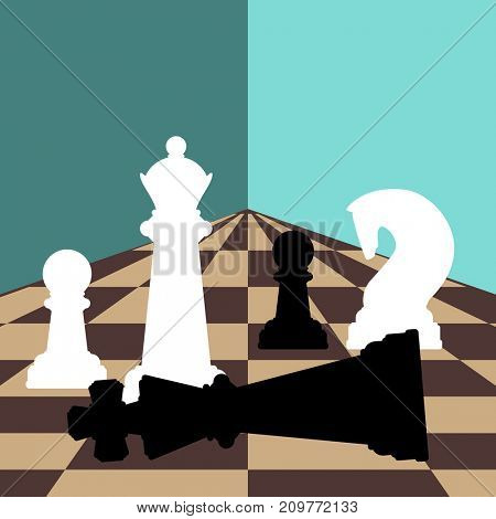 Chess background with chessboard, figures in the game. Illustration with a place for your text.