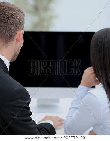 Business presentation on  computer