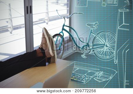 3D Illustration of desk at creative office against employee relaxing on table in creative office