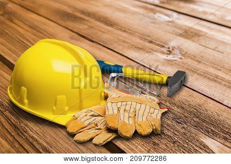 Yellow gloves hat hard head wear background object