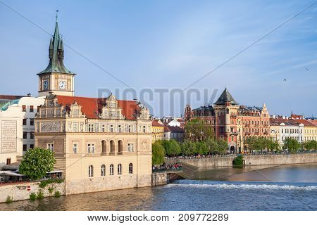 Old Prague View In Summer Day. Vltava River