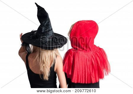 Beautiful Girls In Halloween Costume Witch And Little Red Riding Hood
