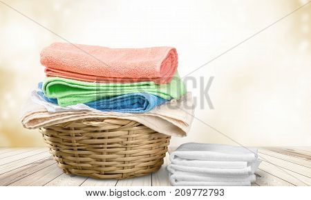 Colorful basket laundry towels colors background nobody
