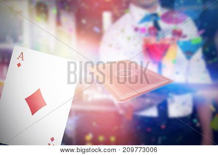 Composite 3D image of midsection of bartender serving cocktail and martini against ace of diamonds card