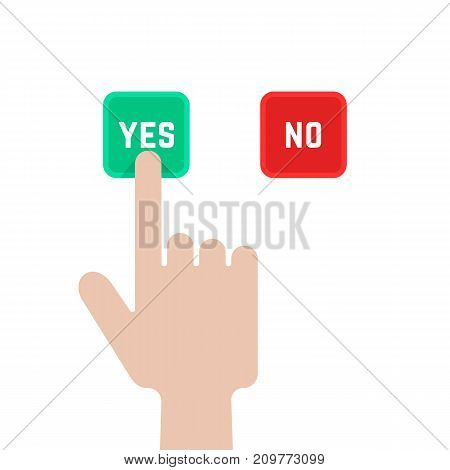 select buttons like dilemma. concept of polling, correct, arm gesture, suggestion, assessment, accept true, consent, assent, election. flat style graphic design vector illustration on white background