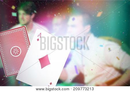 Composite 3D image of ace of diamonds card against group of men watching television in bar