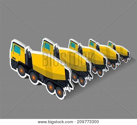 Yellow concrete mixers in isometric. Five concrete mixers in a row behind each other. Construction machinery and ground works. Flatten illustration, banner or icon. Isolated master vector on gray.