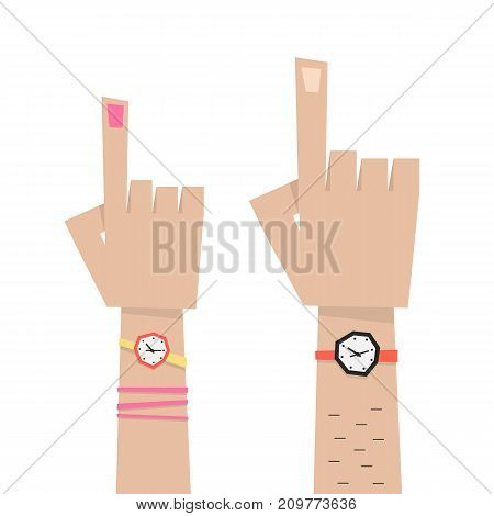 hand with forefingers of man and woman. concept of wristwatch, notification, caucasian part of body, indicate, specify. flat style trend modern graphic design vector illustration on white background