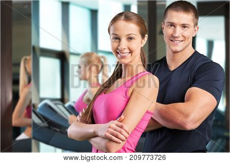 Couple sporty work out beautiful romance girl female
