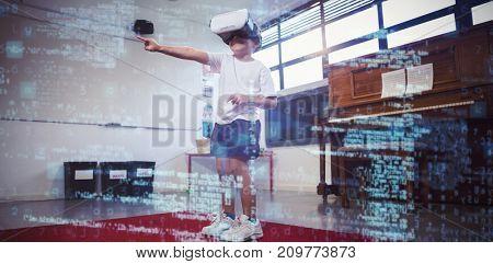 Image of data against boy wearing virtual reality 3D simulator dancing at home