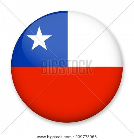 Flag of Chile in the form of a round button with a light glare and a shadow. The symbol of Independence Day, a souvenir, a button for switching the language on the site, an icon.