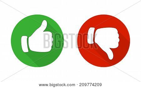 Thumb Up And Down Red And Green Icons. Vector Illustration. I Like And Dislike Round Buttons In Flat