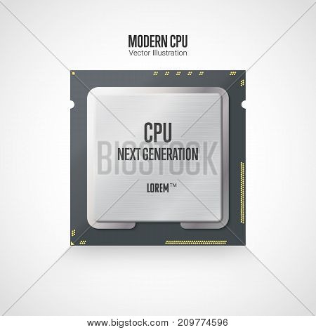 A modern computer processor. Front side. Realistic vector illustration isolated on white background.