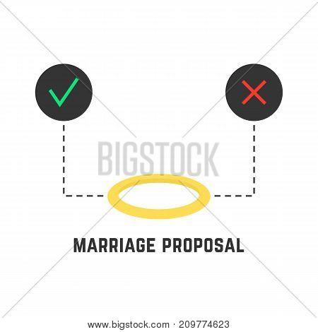 selection like marriage proposal. concept of decision, event, joke, passion, option, precious, decide, take a decision. flat style trend modern logo design vector illustration on white background