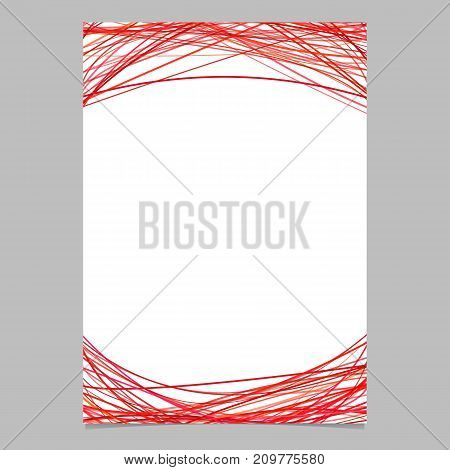 Document template with chaotic arched stripes in red tones at the top and the bottom - blank vector brochure illustration on white background