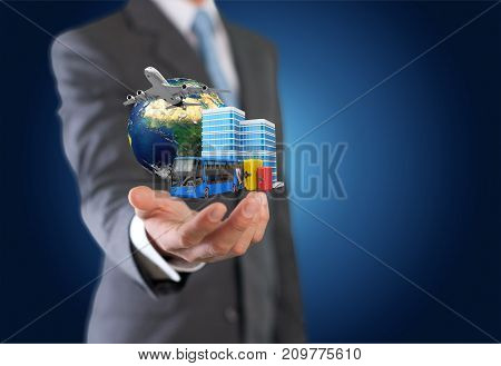 Business young man businessman signs color background