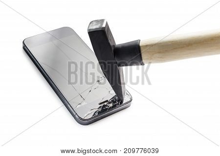 A hammer breaks the phone on a white background.