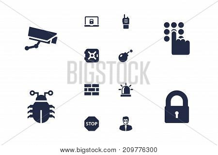 Collection Of Strongbox, Keypad, Surveillance And Other Elements.  Set Of 12 Procuring Icons Set.