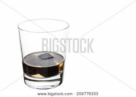 A Full Glass With Whiskey Stones. Isolated.
