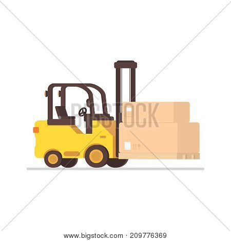 Forklift truck with boxes on wooden pallet, in flat style. Vector illustration, isolated on white