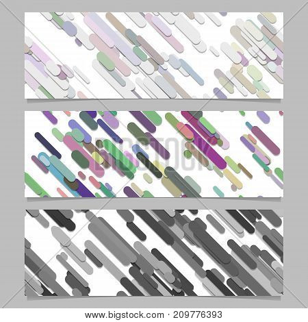 Seamless random diagonal stripe pattern banner background design set - horizontal vector illustrations
