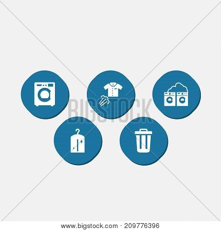 Collection Of Washhouse, Clothes, Ironing And Other Elements.  Set Of 5 Cleaning Icons Set.