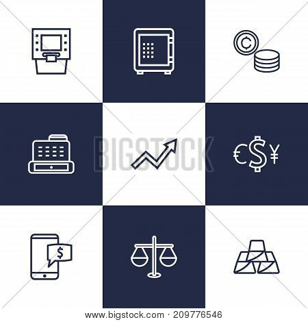 Collection Of Golden Bars, Atm, Justice And Other Elements.  Set Of 9 Finance Outline Icons Set.